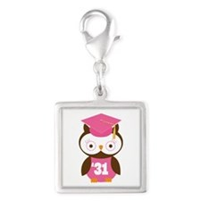 2031 Owl Graduate Class Silver Square Charm