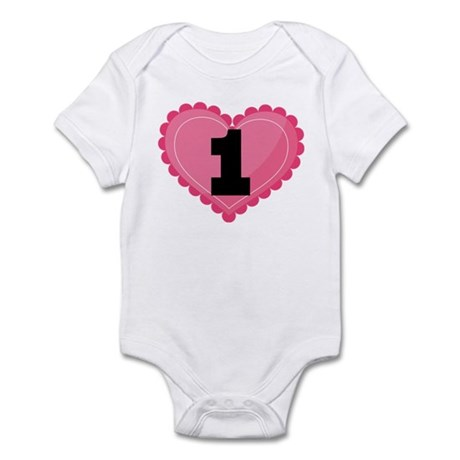 1st Birthday Big Heart Infant Bodysuit