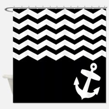 Black and white chevron anchor Shower Curtain