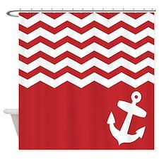 Nautical Red chevron anchor Shower Curtain