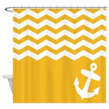 Nautical Yellow chevron anchor Shower Curtain