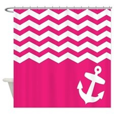Pink anchor shower curtains pink anchor fabric shower curtain liner