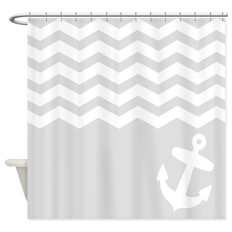 Nautical Gray Chevron Anchor Shower Curtain By InspirationzStore