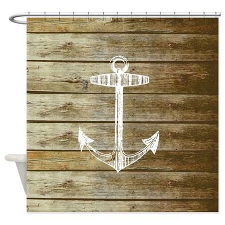 Anchor on Faux wood fabric Shower Curtain