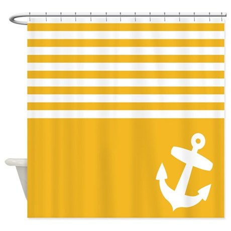 Yellow Striped Anchor Shower Curtain By InspirationzStore