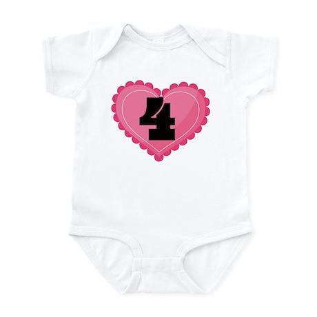4th Birthday Big Heart Infant Bodysuit
