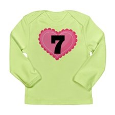 7th Birthday Big Heart Long Sleeve Infant T-Shirt