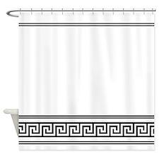 Art Deco Geometric Black and White Shower Curtain
