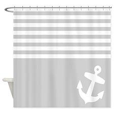 Grey stripes anchor Shower Curtain