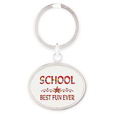 School Best Fun Oval Keychain