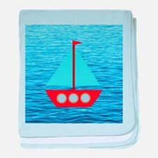Sailboat in Blue Water baby blanket