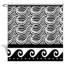 Ocean Waves Art Deco Black and white Shower Curtai