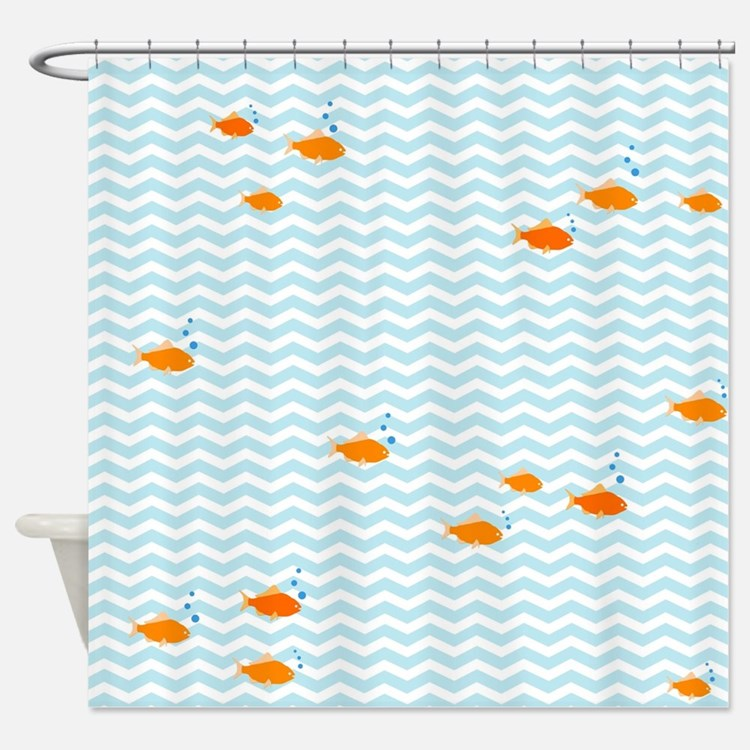 Blue chevron and gold fish Shower CurtainRetro Pattern Blue Orange Shower Curtains   Retro Pattern Blue  . Orange Shower Curtain Liner. Home Design Ideas