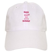 Happy 1st Birthday - Pink Argyle Baseball Baseball Cap