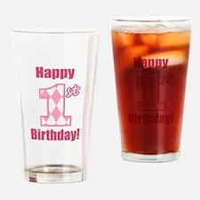 Happy 1st Birthday - Pink Argyle Drinking Glass