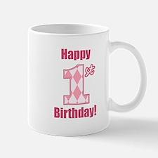 Happy 1st Birthday - Pink Argyle Mug