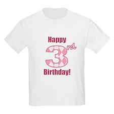 Happy 3rd Birthday - Pink Argyle T-Shirt