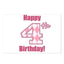 Happy 4th Birthday - Pink Argyle Postcards (Packag