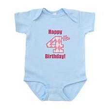 Happy 4th Birthday - Pink Argyle Body Suit