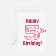 Happy 5th Birthday - Pink Argyle Greeting Card