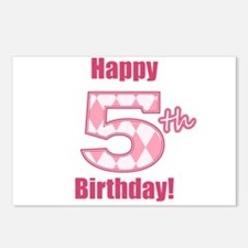 Happy 5th Birthday - Pink Argyle Postcards (Packag