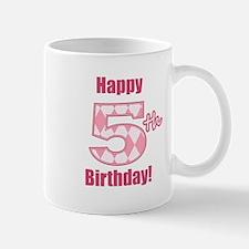 Happy 5th Birthday - Pink Argyle Mug