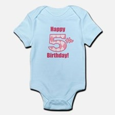 Happy 5th Birthday - Pink Argyle Body Suit