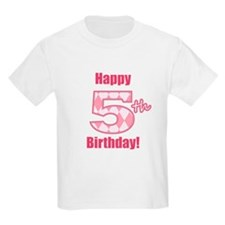 Happy 5th Birthday - Pink Argyle T-Shirt