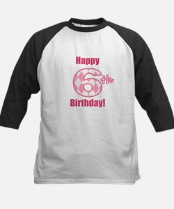 Happy 6th Birthday - Pink Argyle Baseball Jersey