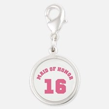Pink Maid of Honor 16 Silver Round Charm
