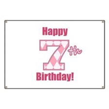 Girls 7th Birthday Banners & Signs   Vinyl Banners ...