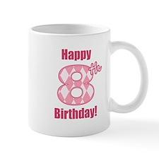 Happy 8th Birthday - Pink Argyle Mug