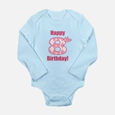 Happy 8th Birthday - Pink Argyle Body Suit