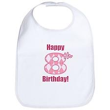 Happy 8th Birthday - Pink Argyle Bib