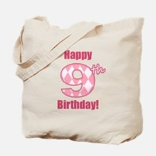 Happy 9th Birthday - Pink Argyle Tote Bag