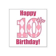 Happy 10th Birthday - Pink Argyle Sticker