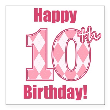 Happy 10th Birthday - Pink Argyle Square Car Magne by ...