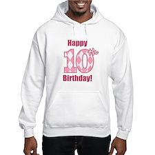 Happy 10th Birthday - Pink Argyle Hoodie