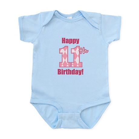 Happy 11th Birthday - Pink Argyle Body Suit