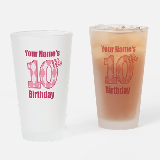 Pink Argyle 10th Birthday - Personalized! Drinking