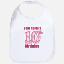 Pink Argyle 10th Birthday - Personalized! Bib
