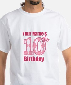 Pink Argyle 10th Birthday - Personalized! T-Shirt