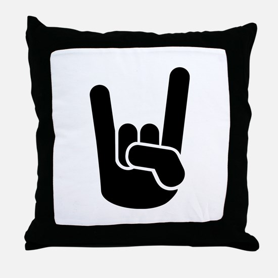 Rock Metal Hand Throw Pillow
