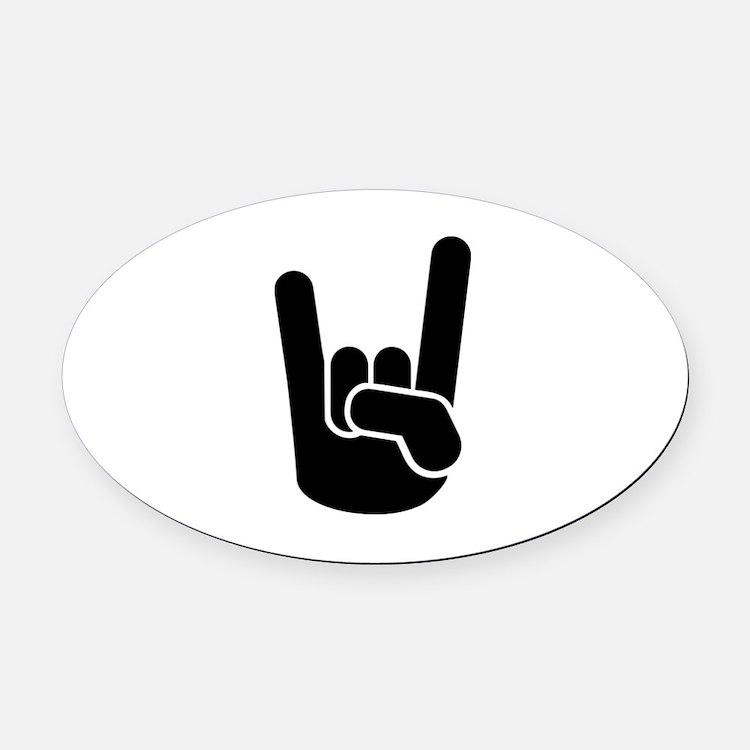 Rock Metal Hand Oval Car Magnet
