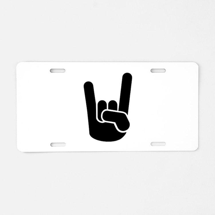 Rock Metal Hand Aluminum License Plate