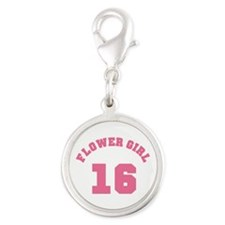 Pink Flower Girl 13 Silver Round Charm