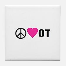 PEACE LOVE OT Tile Coaster