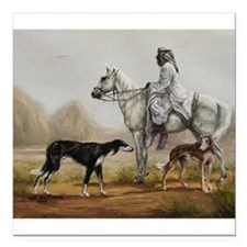 Arabian Bedouin Hunting with Two Salukis Square Ca