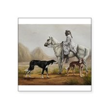 Arabian Bedouin Hunting with Two Salukis Sticker