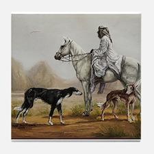 Arabian Bedouin Hunting with Two Salukis Tile Coas